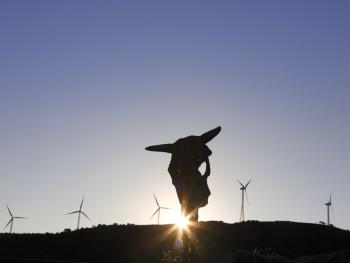 Corri  Località Giagazzu - Comune di Viddalba  Giagazzu. Teschio di vacca sulla recinzione di una porcilaia e pale eoliche sullo sfondo